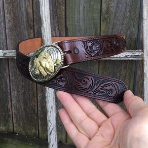 add 3D Accessories - Vintage 3D Western Tooled Leather Belt